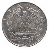 Gammal italiensk Lira som isoleras över vit Royaltyfria Foton