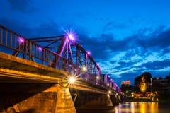 Gammal järnbro ChiangMai Thailand Fotografering för Bildbyråer