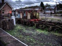 gammal järnväg för vagn Royaltyfria Bilder