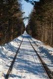 Gammal järnväg i vinter Royaltyfria Foton