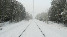 Gammal järnväg i vinterskog under snöstorm stock video