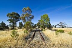 Gammal järnväg linje nära Parkes, New South Wales Arkivbilder