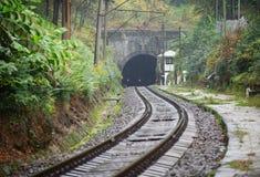 Gammal järnväg och tunnel i bergen i höst Fotografering för Bildbyråer
