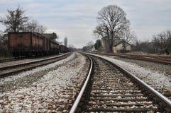 Gammal järnväg posterar Arkivfoto
