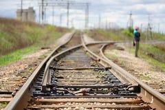 Gammal järnväg punkt i landet Royaltyfri Fotografi
