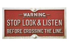gammal järnväg teckenvarning arkivbild