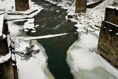 Gammal järnvägsbro över den snabba bergfloden Arkivbilder