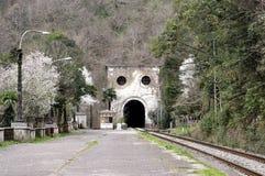 Gammal järnvägsstation i Psyrdzkha, nya Athos, Abchazien Royaltyfri Fotografi