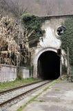 Gammal järnvägsstation i Psyrdzkha, nya Athos, Abchazien Arkivbild