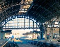 gammal järnvägsstation och trainn royaltyfri foto