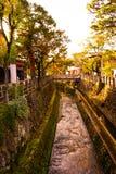 Gammal japansk kanal i landssida Fotografering för Bildbyråer