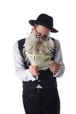 Gammal jew med dollarräkningar Royaltyfri Bild