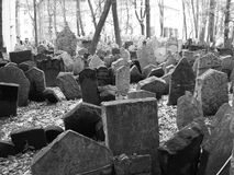 Gammal judisk kyrkogård i Prague, Tjeckien, svartvitt konstnärligt Arkivfoto