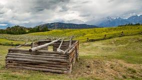 Gammal kabin i Wyoming Fotografering för Bildbyråer