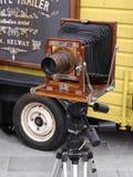 Gammal kamera på den 200 år berömmen av den Leeds Liverpool kanalen på Burnley Lancashire Royaltyfri Foto