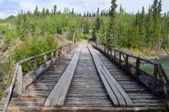 Gammal kanjonliten vikbro, Yukon territorium, Kanada 02 Royaltyfria Foton
