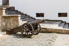 Gammal kanon i borgg?rden av den Palanok slotten i staden av Mukachevo Ukraina royaltyfri fotografi