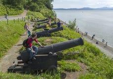 Gammal kanon på kusten Royaltyfria Bilder