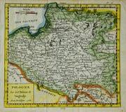 Gammalt kartlägga av Polen Royaltyfri Bild