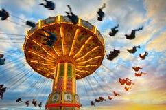 Gammal karusell i Tivoli Arkivfoto