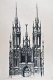 gammal katolsk kyrkateckning royaltyfria bilder
