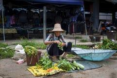 Gammal kinesisk kvinna som säljer grönsaker i en gatamarknad på den Fuli byn i bygden av sydliga Kina Royaltyfria Bilder