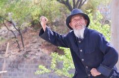 Gammal kinesisk man Kung Fu Demonstration Arkivfoto