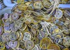 Gammal kineskopparQing Money Panjuan Flea Market Peking Kina Royaltyfri Fotografi
