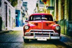 Gammal klassisk bil i Habana Royaltyfri Fotografi