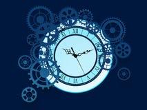 Gammal klocka med kugghjulbakgrund stock illustrationer