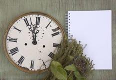 Gammal klocka på den gröna wood bakgrunden Bakgrund för nytt år med växter och lilabär Nya sidor och purpurfärgade bär Vinta Royaltyfri Fotografi