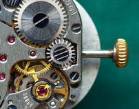 gammal klockamekanism Arkivbild