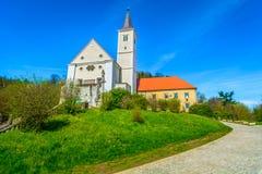 Gammal kloster i den Krapina staden, Kroatien arkivbilder
