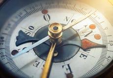 gammal kompass Skjuten makro Lopp-, geografi-, navigering-, turism- och utforskningbegreppsbakgrund royaltyfri bild