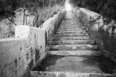 Gammal konkret trappa med det glödande slutet Arkivbilder