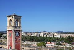 Gammal Korfu för klockatorn stad Arkivbilder