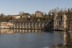 Gammal kraftverk av Trezzo D 'Adda, Italien royaltyfri foto