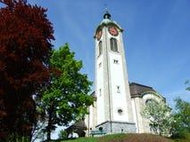 Gammal kristen kyrka i stad av Gossau arkivbild