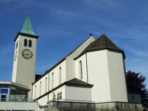 Gammal kristen kyrka i stad av Herisau fotografering för bildbyråer