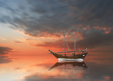 Gammal kuwaiti fiskebåt Arkivbilder