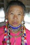 Gammal kvinna från den Palong stammen, Thailand Fotografering för Bildbyråer
