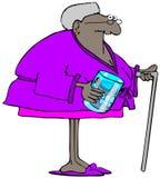 Gammal kvinna med hennes tandproteser i ett exponeringsglas royaltyfri illustrationer