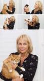 Gammal kvinna och husdjur Arkivbilder