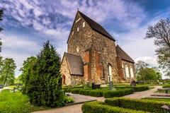 Gammal kyrka av Gamla Uppsala, Sverige Arkivbild