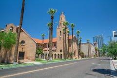 Gammal kyrka i i stadens centrum Phoenix Arizona arkivbilder