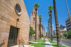 Gammal kyrka i i stadens centrum Phoenix Arizona arkivfoto