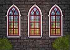 Gammal kyrka - vägg med trädfönster Arkivfoto