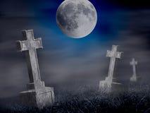 Gammal kyrkogård för gåta på midnatt. Allhelgonaaftoncollage stock illustrationer