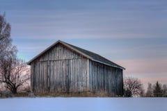 Gammal ladugård för grå färg i aftonsolnedgång Arkivfoton
