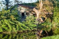 Gammal ladugård för trädbarnkammare i Boskoop, Holland royaltyfri bild